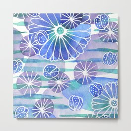 Abstract Cool Colors Flowers Metal Print