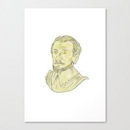15th Century Spanish Explorer Bust Drawing Canvas Print