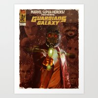 guardians of the galaxy Art Prints featuring Guardians of The Galaxy  by Juan Hugo Martinez Illustrations
