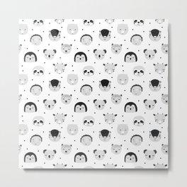 black and white Scandi Animals Prints patterns Metal Print