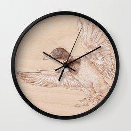 Duck Portrait - Drawing by Burning on Wood - Pyrography Art Wall Clock