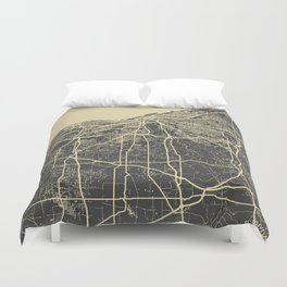 Cleveland map Duvet Cover