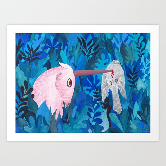 Accident in the enchanted forest Art Print