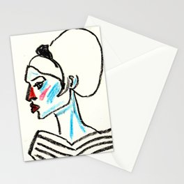 perfil girl with a red nose Stationery Cards