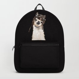 Cool Pilot Llama in Black Backpack