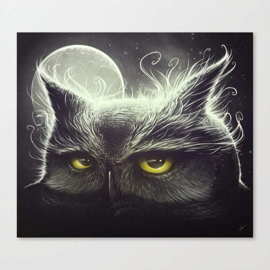 Owl & The Moon Canvas Print