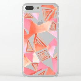 Geo Triangle Peach Clear iPhone Case
