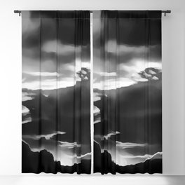 cloudy burning sky reacbw Blackout Curtain