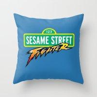 sesame street Throw Pillows featuring Sesame Street Fighter by Franz24