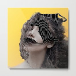 Yellow Face Abstract FM Metal Print