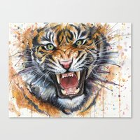 tiger Canvas Prints featuring Tiger by Olechka