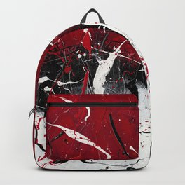 Groove In The Fire - Black and red abstract splash painting by Rasko Backpack