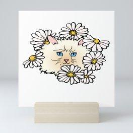 Kitty in the Flower Bed Mini Art Print