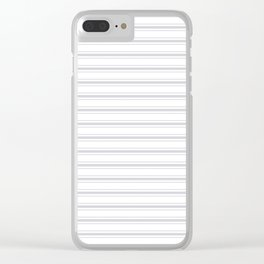 Soft Grey Mattress Ticking Wide Striped Pattern - Fall Fashion 2018 Clear iPhone Case