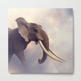 African Elephant Portrait .Digital painting Metal Print