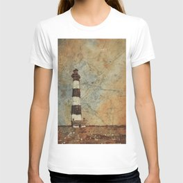 Fine art watercolor painting of Bodie Island lighthouse at sunset in the Outer Banks (OBX) T-shirt