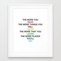 quotes Framed Art Prints featuring quotes by kawaiicookie