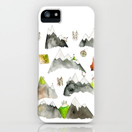 Watercolor Hills for Hikers and Nature lovers iPhone Case