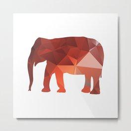 Elephant - Red geomatric Metal Print