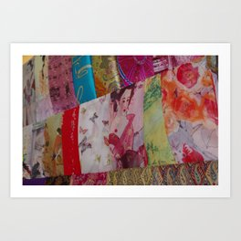 Silk Scarves in the market Art Print