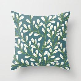 Green & White Vines Throw Pillow