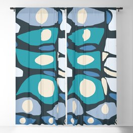 African Abstract Art Pattern Blue Blackout Curtain