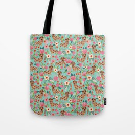 Dapple Dachshund cream doxie lover floral must have gifts dachsie flowers Tote Bag