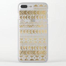 Boho Ethnic faux gold white aztec elegant geometrical Clear iPhone Case