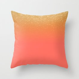 Living Coral Gold Glitter Throw Pillow