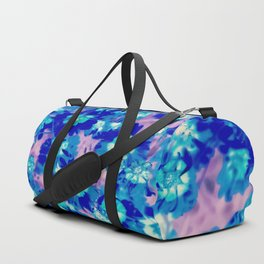 blooming blue flower abstract with pink background Duffle Bag