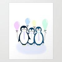 Party penguin Art Print
