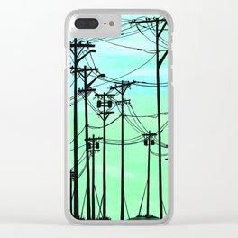 Industrial poles aqua Clear iPhone Case