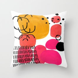 Modern Mid Century Fun Colorful Abstract Minimalist Painting Yellow Pink Bubble Candy Drops Throw Pillow