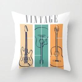 Guitar Vintage Throw Pillow