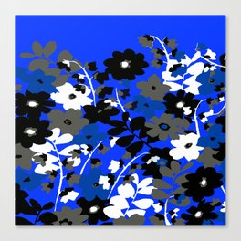 SUNFLOWER TRELLIS BLUE BLACK GRAY AND WHITE TOILE Canvas Print