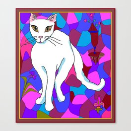 Pretty White Kitty in the Window - Stained Window Canvas Print