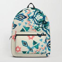 Watercolor Lotus Mandala in Teal & Salmon Pink Backpack