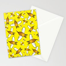 Bees pattern in yellow Stationery Cards