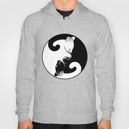 Yin yang cats in black and pink Hoody