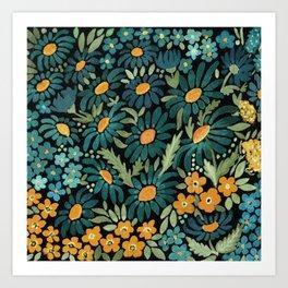 Watercolor . Chamomile field. 2 Art Print