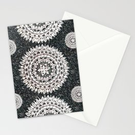 Black Glitter and Silver Mandala Textile Piece Stationery Cards