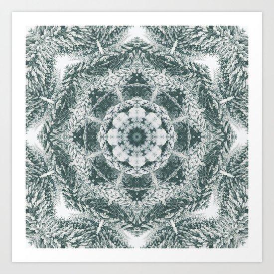 Winter snowy spruce forest mandala Art Print