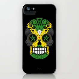 Sugar Skull with Roses and Flag of Jamaica iPhone Case