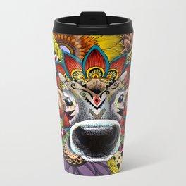 TRIBAL COW Metal Travel Mug