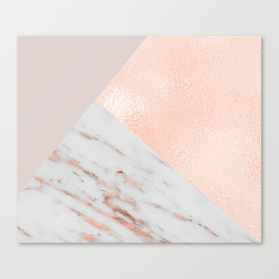 Blush pink layers of rose gold and marble Canvas Print