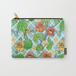 Climbing Nasturtiums on Blue and White Carry-All Pouch