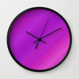 Orange & Purple Diagonal Stripes   Bright gradient pattern Wall Clock