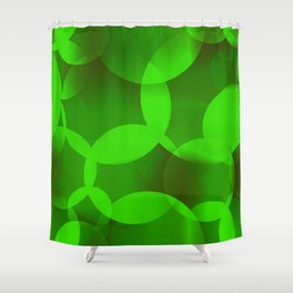 Abstract soap  of green molecules and bubbles on a light background. Shower Curtain