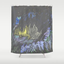 chaotic landscape Shower Curtain