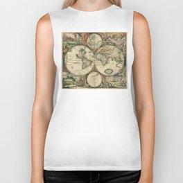 1689 Map of the World by Gerard van Schagen Biker Tank
